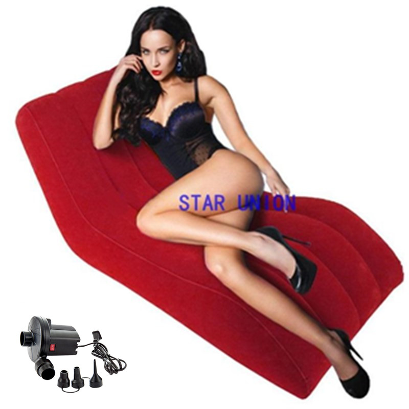 155*89*65CM Inflatable Chaise Lounge Love Sofa Beach Chairs Bearing 150KG Flocking Floor Sofa Comfort Portable Lounge Chair