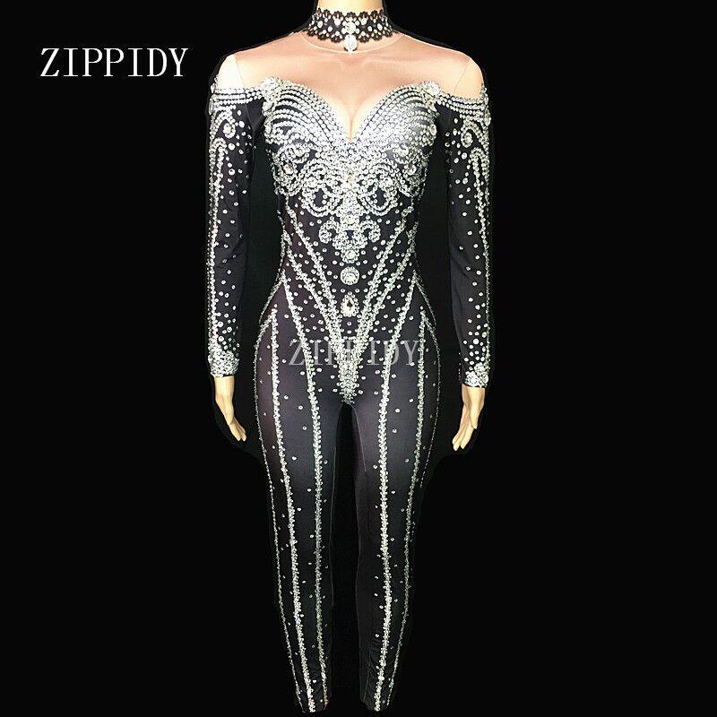 Черный яркое серебро костюмы с кристаллами пикантные Стразы боди этап Одежда для танцев Для женщин вечер праздновать блестящий костюм