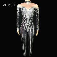 Black Bright Silver Crystals Jumpsuits Sexy Rhinestones Bodysuit Stage Dance Wear Women's Evening Celebrate Shining Costume