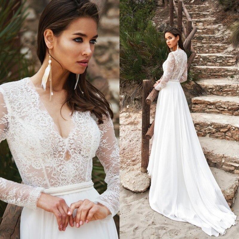 V Neck Lace Boho Wedding Dress 2019 Long Sleeve Bridal Gowns Custom Made Chiffon Sweep Train Vestido De Novia