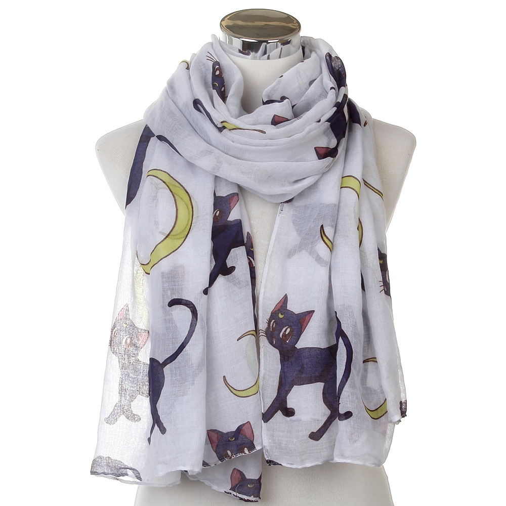 WINFOX 2019 New Fashion Oversized Soft White Cat Moon Long Scarf Bufanda Shawls For Womens
