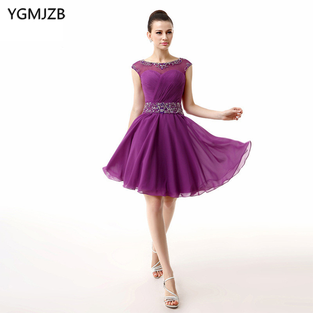 Purple Cocktail Dresses 2018 Sheer Neck Beaded Cap Sleeves Chiffon Short  Evening Party Dress