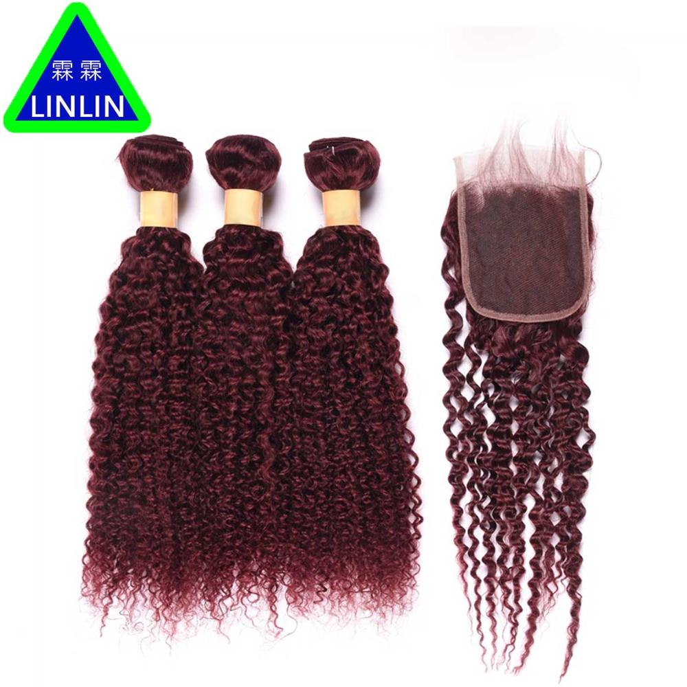 LINLIN Pre-colored Raw Malaysian Hair Weave Bundles With Closure 3 Bundles With Lace Closure Kinky Curly 99j Hair Rollers бразильское curly wave closure 4x4 virgin human hair deep wave curly lace closure bleahced knots free middle 3 part top closure