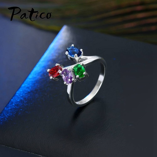 PATICO Hot Selling Muticolors Blue Red Purple Round CZ Zirconia Rhinestone Wedding Ring Women Men S90 Silver Party Anel