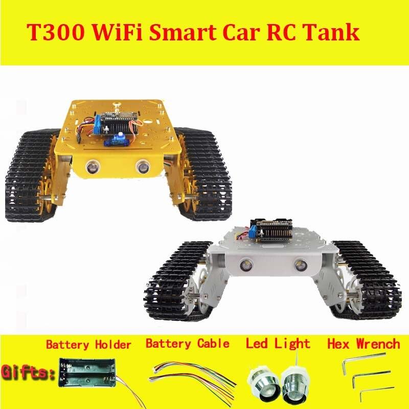 DOIT sans fil WiFi RC réservoir en métal complet T300 de NodeMCU ESP8266 Kit de développement avec L293D moteur bouclier bricolage RC jouet
