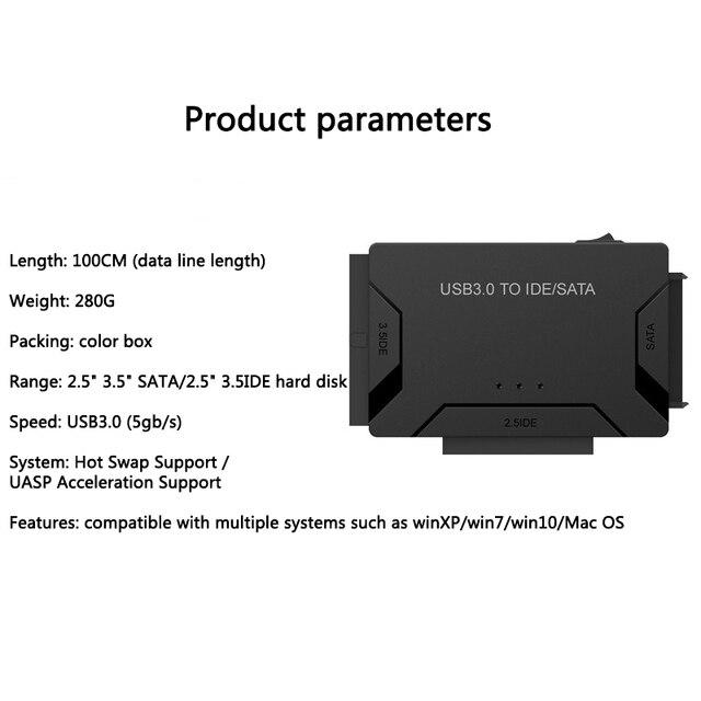 SATA Combo USB IDE SATA Adapter Hard Disk SATA to USB3.0 Data Transfer Converter for 2.5/3.5 Optical Drive HDD SSD Computer Cables & Connectors