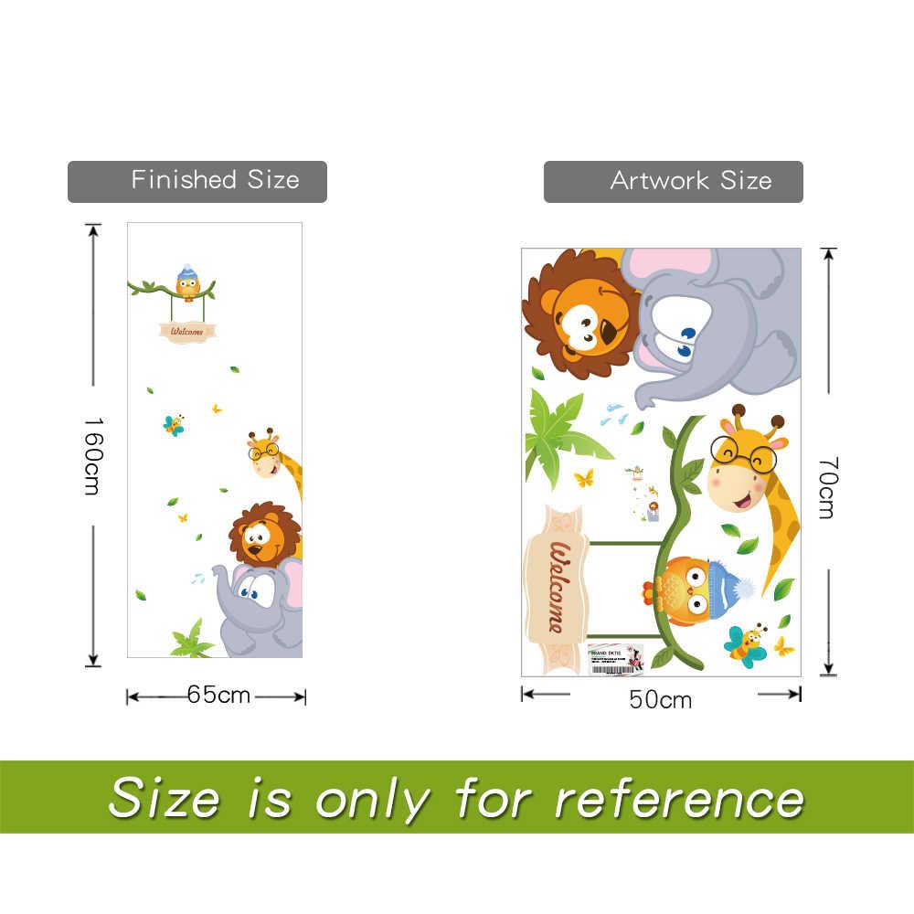 Adhesivo de pared para dormitorio para niños, pegatinas de habitación, elefante, jirafa, pájaro, sala de estar, pegatinas para puerta, decoración, accesorios para el hogar
