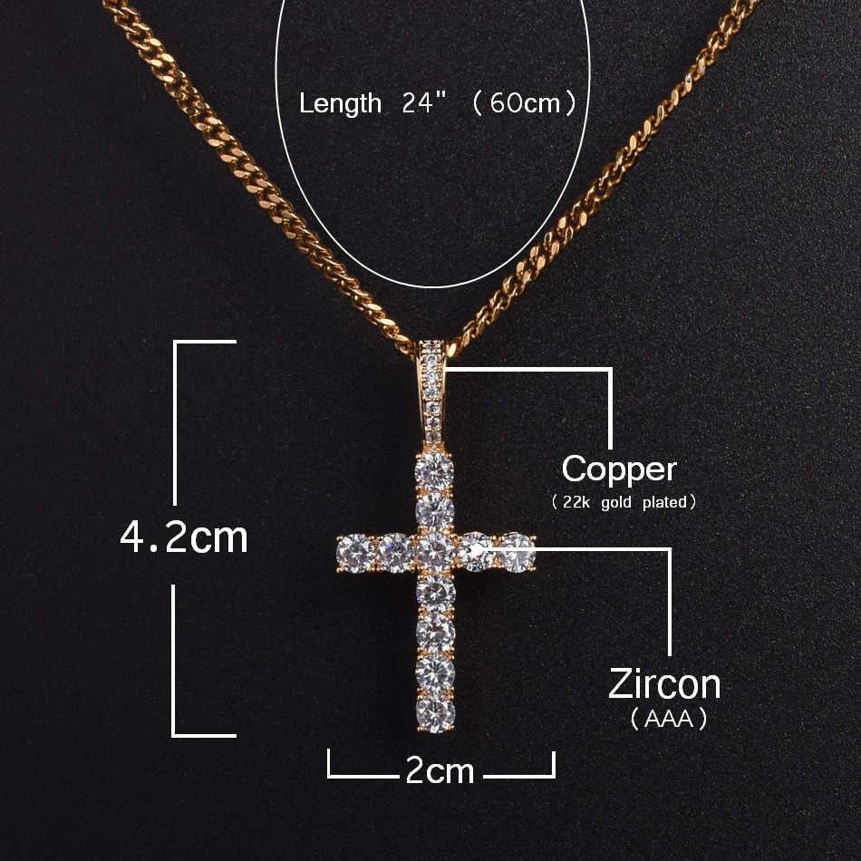 Mężczyźni kobiety AAA cyrkon krzyż wisiorek złoty srebrny materiał miedziany Iced CZ wisiorki krzyżowe naszyjnik łańcuch moda biżuteria Hip Hop