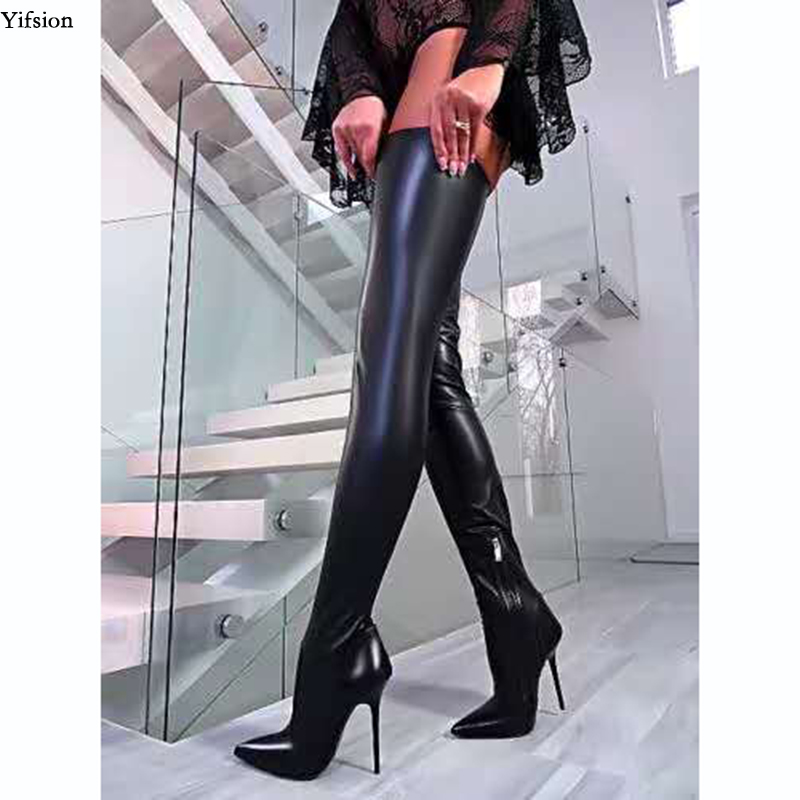 Olomm Women Spring Over The Knee Boots Sexy Stiletto High Heels Boots Pointed Toe Fashion Black