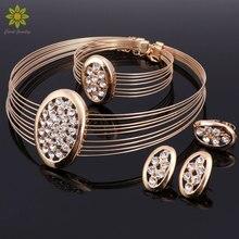 Ювелирные изделия наборы Кристалл ожерелье серьги браслет кольцо набор для женщин золото Цвет Свадебные Многослойные колье Аксессуары