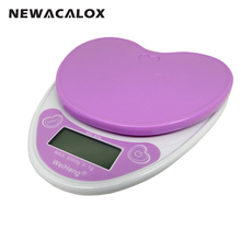 NEWACALOX Electronic Kitchen Scale Protein Diet Foods Balance Cuisine Precision Heart-Shape Designed Weigh Health Scale 5kg 1g