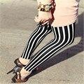Nueva señora delgada mezcla de algodón patrón de rayas de lápiz legging tobillo estilo flaco pantalones a rayas