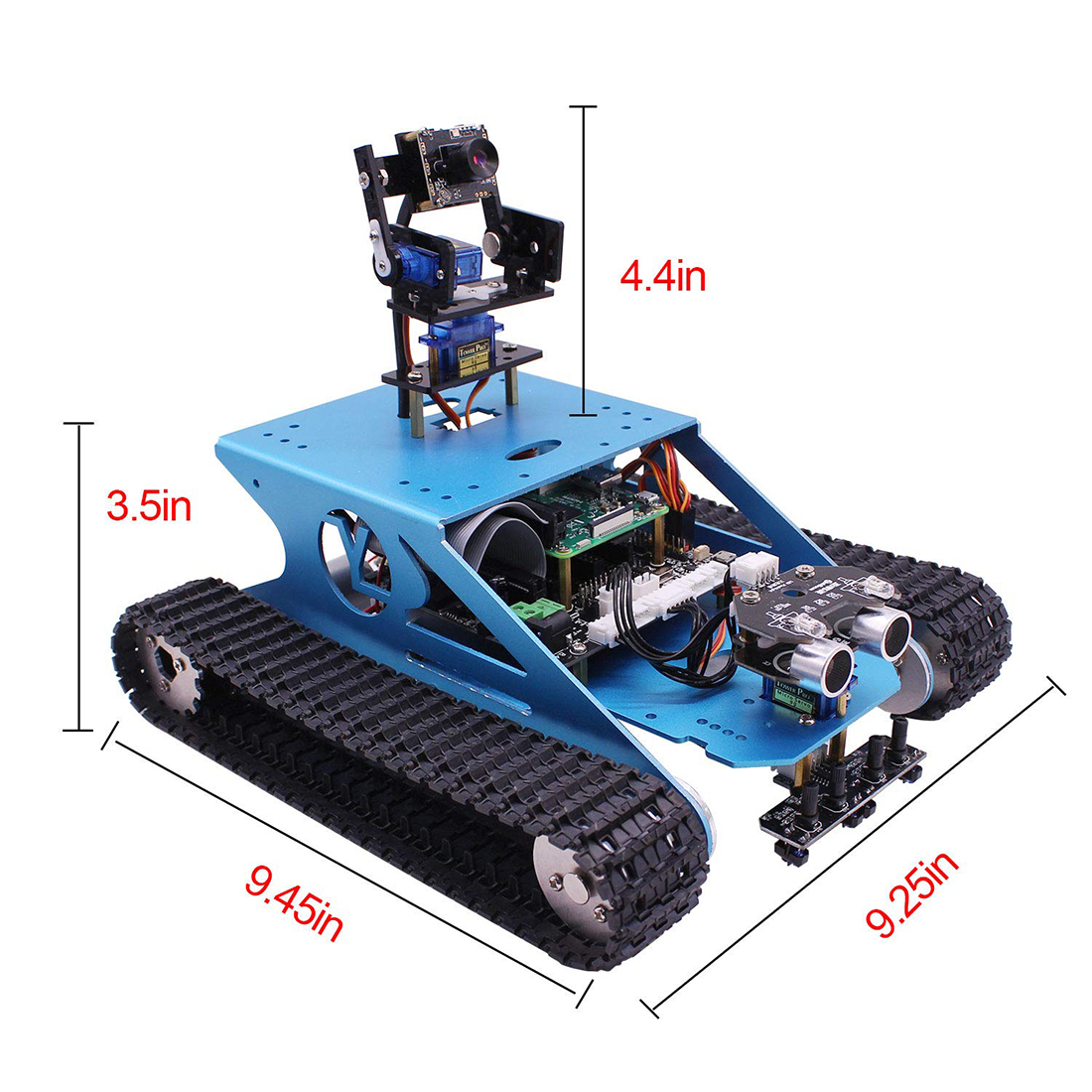 Professional Raspberry Pi Tank Smart Robotic Kit WiFi Wireless Video Programming Electronic Toy DIY Robot Kit Compatible RPI