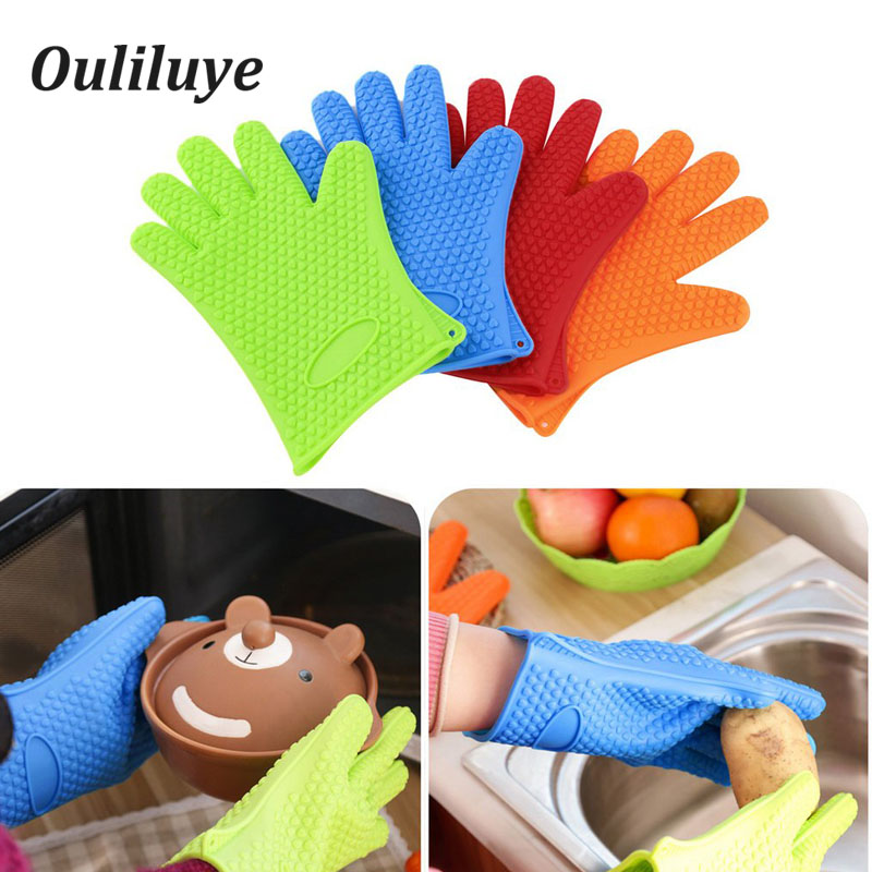 1PCS Convenient Practical Oven Silicone Glove Heat Resistant Kitchen Cooking Baking BBQ Microwave Gloves Accessories