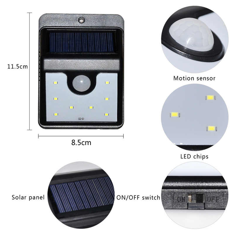 Eslas солнечный светильник с движения Сенсор Перезаряжаемые светодиодный открытый украшения сада IP65 Водонепроницаемый ночь безопасности настенный светильник