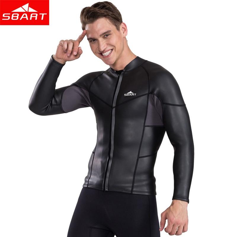 a5bd413f69 SBART 2MM Neoprene Long Sleeve Wetsuits Top Men Sunscreen UV Surfing ...