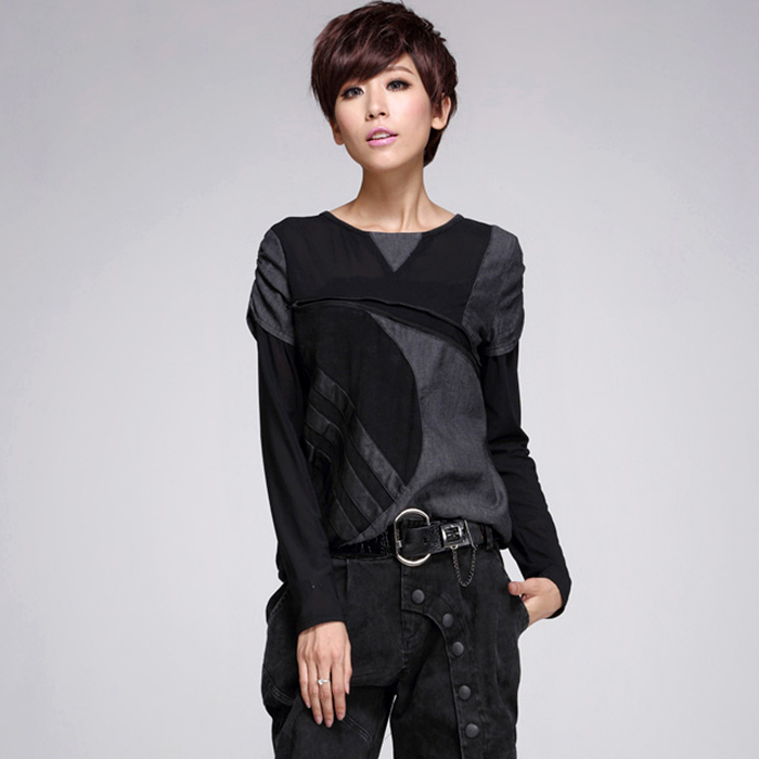 Autumn female t shirt fashion sexy lace stitching leather fight personality harajuku long sleeved T shirt women punk tops