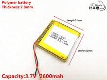 Bonne qualité 3.7 V, 2600 mAH, 785251 polymère lithium ion/Li ion batterie pour jouet, batterie dalimentation, GPS, mp3, mp4