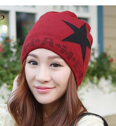 10pcs/lot free shipping korean style woman man knitting star skullies beanies casual unisex winter outside hat 56-58cm