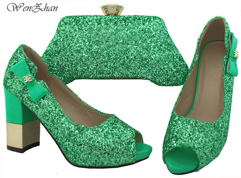 WENZHAN Newest Shining Paillette Baby Green Italian Shoes With Matching Bag Sets Open Toe Thick Heel Shoes Women Pumps B712-29