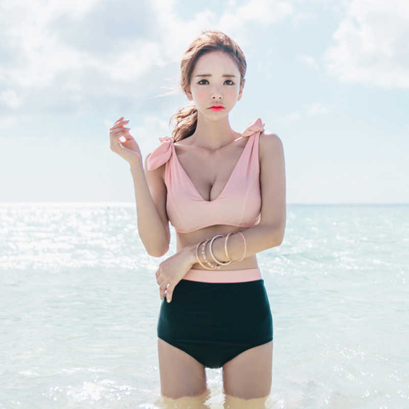 70027c1cd88bd New Korean Style Sexy Young Women Bowknot Cut Bikini set 2018 Swimming Suit  Bathing Suit Pink