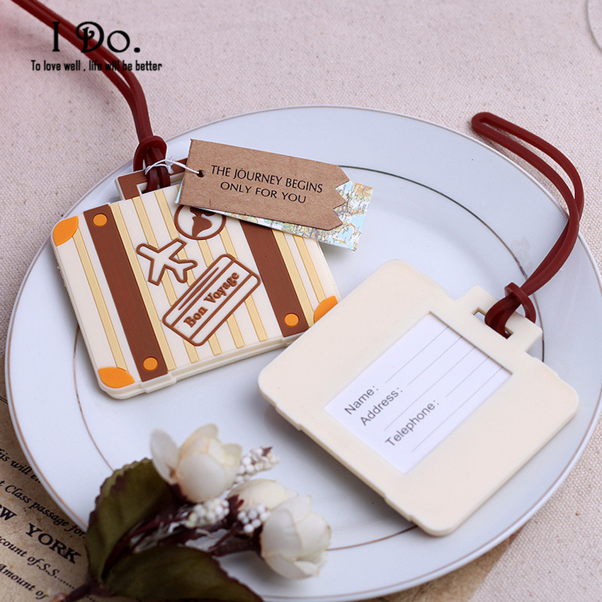Free Shipping Suitcase Design Luggage Tag Wedding Favors And Gifts