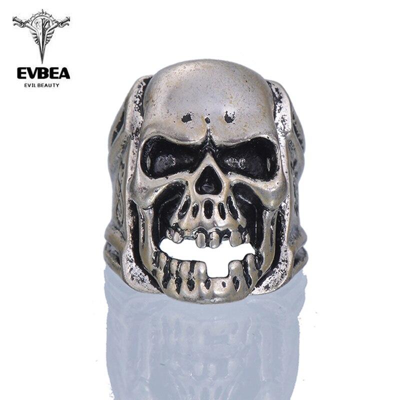 EVBEA 2016 New 1Pcs Viking Skeleton Skull Biker Ring Stainless Steel Men Ring Finger Size 9-11 Punk Rock Jewelry Big Tripple