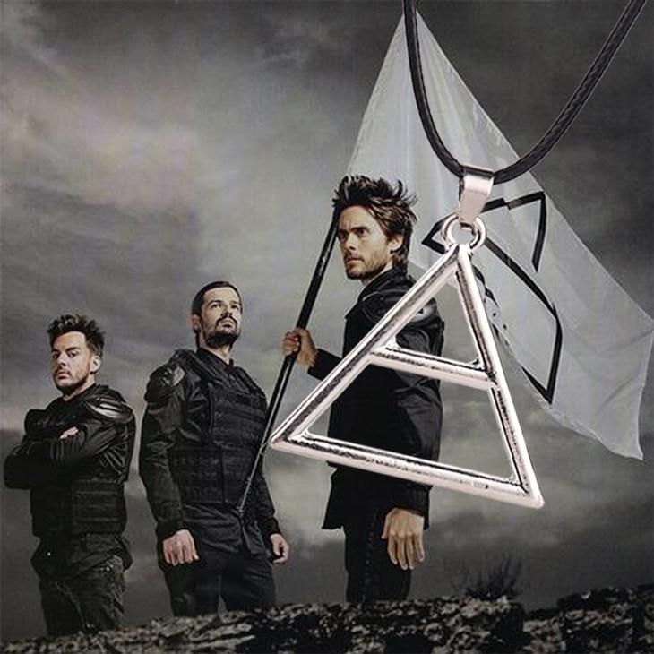 Ожерелье с треугольной подвеской 30 секунд на Марс, винтажная кожаная веревка с логотипом для мужчин и женщин, оптовая продажа