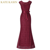 Kate Kasin Cap Sleeve Mermaid Prom Dresses V Back Vestido De Festa Long Evening Formal Party Gown Black Wine Red Lace Prom Dress