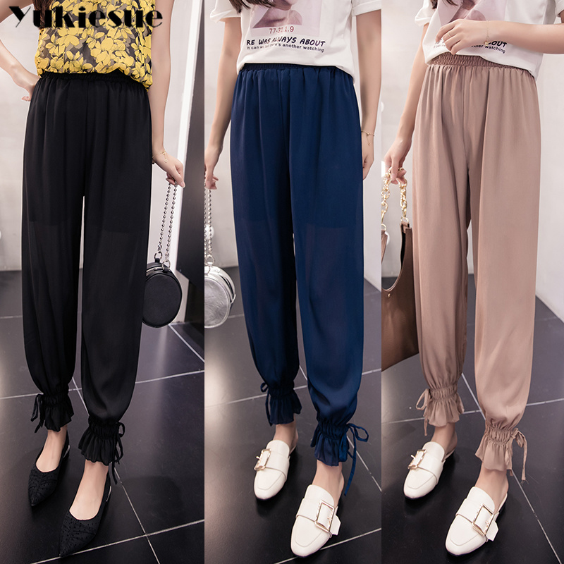 summer fashion chiffon beach women's   pants     capris   with high waist Harem   pants   for women trousers woman   pants   female Plus size