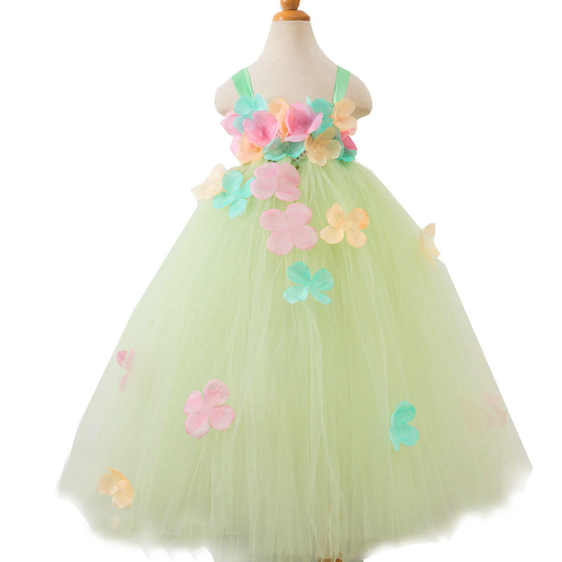 Green Flower Tutu Dress Baby Girl Summer Princess Fairy Dress Ball Suknia dla dziewczyn Boże Narodzenie Halloween Costume Girl Birthday
