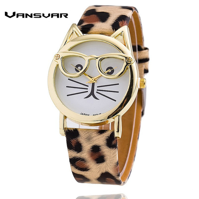 Vansvar Hot Sale Glasses Cat Watch Fashion Leather Strap Wrist Watch Women Quart