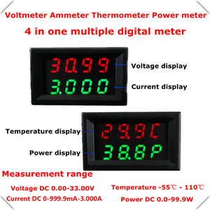 RD Dual 4in1 Digital Thermometer 18b20 Power meter Ammeter Voltmeter voltage temperature 4 Bit DC 0-33.0V/3A 4 pcs/lot