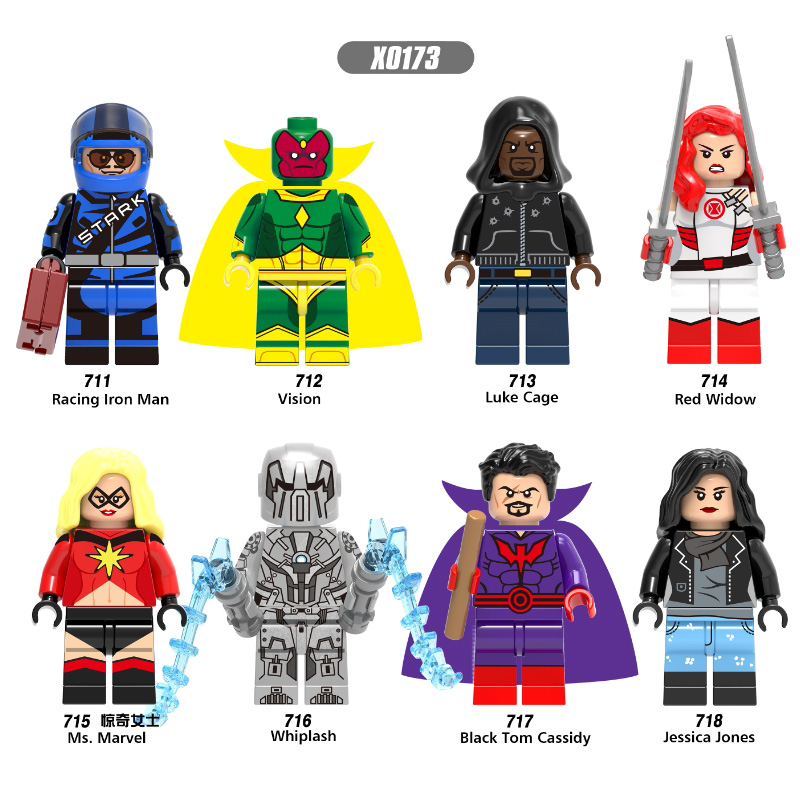 Singel Sale Super Heroes Racing Iron Man Vision Red Widow Luke Cage Whiplash Building Blocks Children Legoingly Toys Gift