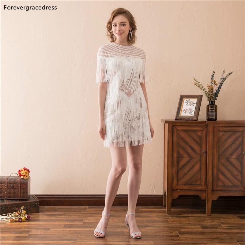 Forevergracedress Short Mini Cocktail Dresses Sheath Lace Tassel Girls Party Gowns Plus Size Custom Made
