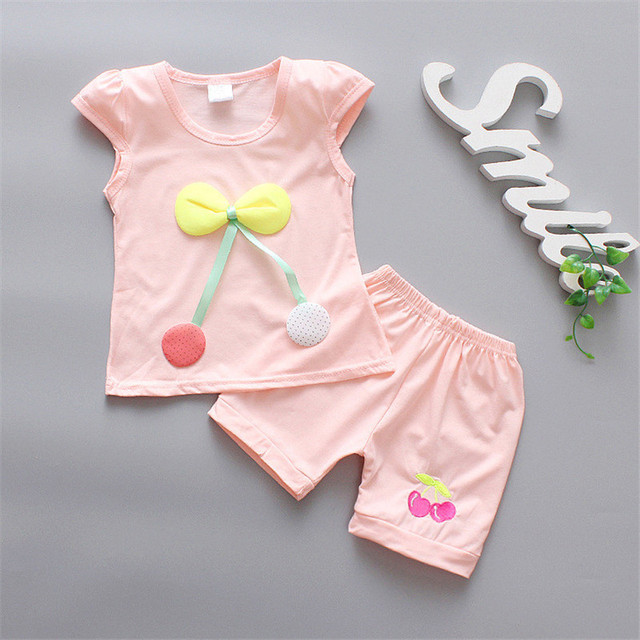 2019 New Summer Baby Girls Clothing Sets Toddler Infant Clothes Suits Sports T Shirt Pants Child Kids Costume Outfits