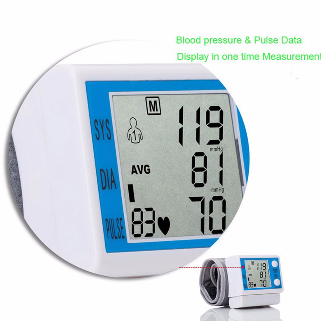 Householde Health Care Automatic Wrist Blood Pressure Monitor Digital LCD Wrist Cuff Blood Pressure Meter 10