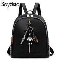 Sayzisfa Women Fashion Little Black Bear Decorative Shoulder Bag Korean Wild Shoulder Bag Oxford Cloth Mummy