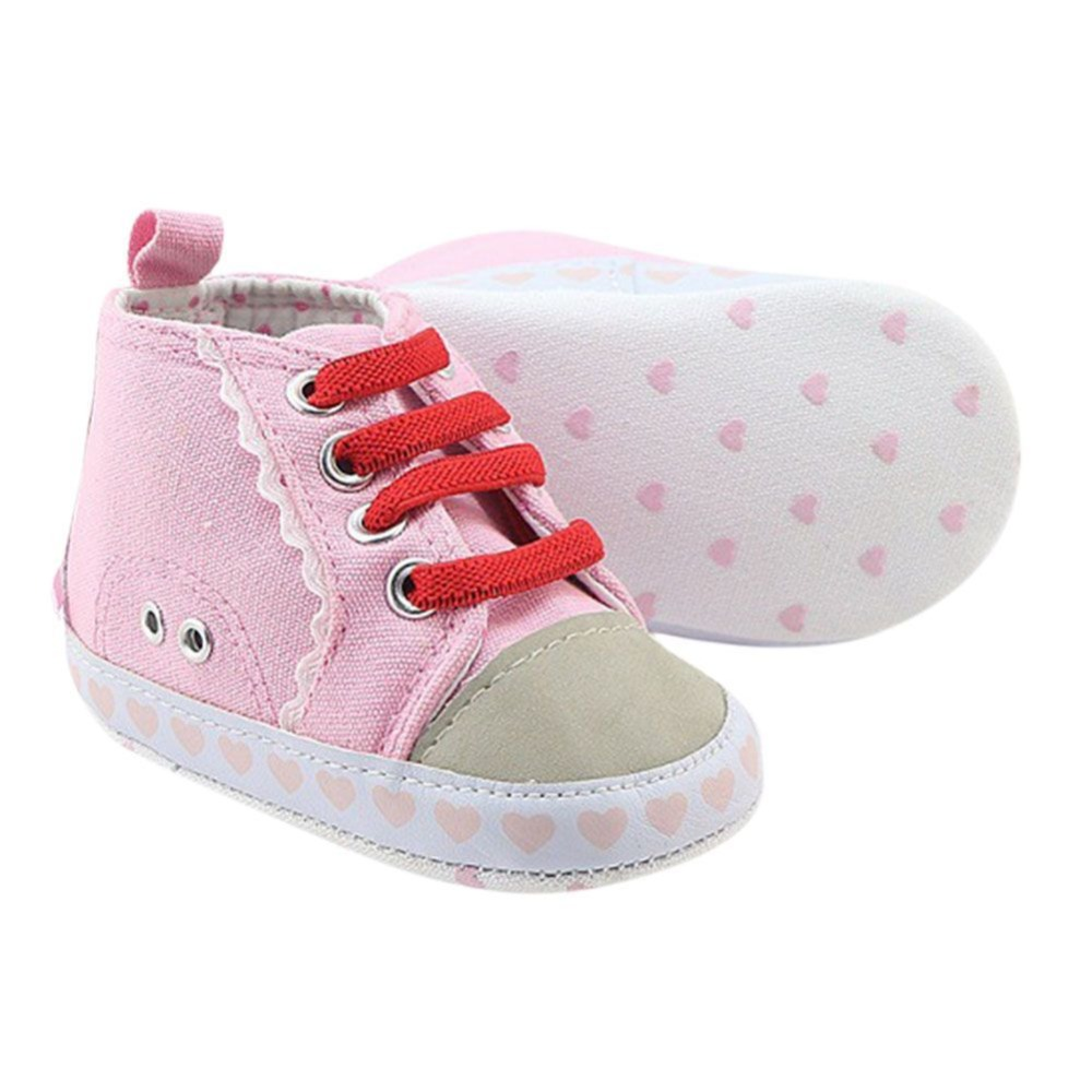Newborn Baby Toddler Girls Shoes Casual Breathable Soft Sole Pink Shoes Infant First Walker 0M-18M