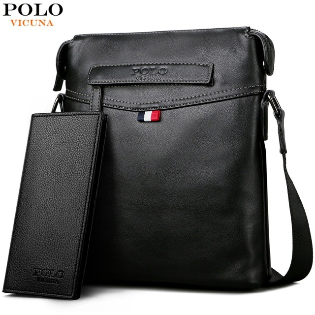 VICUNA POLO Man Pure Color Classic Balck Men Messenger Bag Soft Leather Men's Crossbody Bag Casual Travel Shoulder Bag For Male