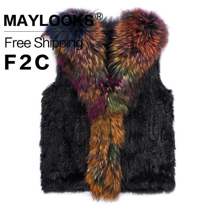 2017 font b Women s b font Natural Real Rabbit Fur Vest Short Coat font b