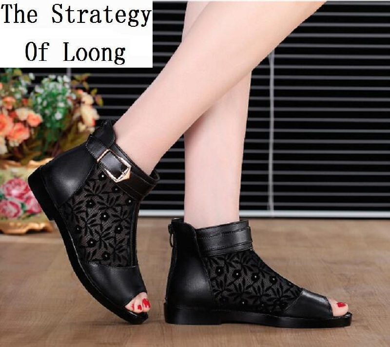 Women Genuine Leather Open The Toe Gauze Lace Summer Shoes Plus Size Cut Out Peep Toe Buckle Sandals Big Size 35 - 43 20170526 mmnun 2017 boys sandals genuine leather children sandals closed toe sandals for little and big sport kids summer shoes size26 31