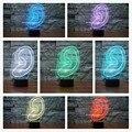 Criativo 3D Decoração Luz Da Noite Forma Ear USB LEVOU Carga Toque interruptor Casa Ao Lado de Lâmpada Colorida Nightlight para Criança Presente de Ano Novo
