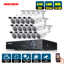 16CH 5MP Ultra HD CCTV Camera System 5IN1 H.265+ DVR With 16PCS 5MP AHD TVI Weatherproof White Security Surveillance System annke 1080p 16ch fhd tvi 5in1 3mp dvr vca 16pcs 2mp hd ir day night vision bullet dome cctv camera video security system