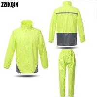 ZZIXQIN Men's Women's Raincoat Split Type Adult Impenetrable Electric Motorcycle Riding Luminous Double layer Suit Raincoat