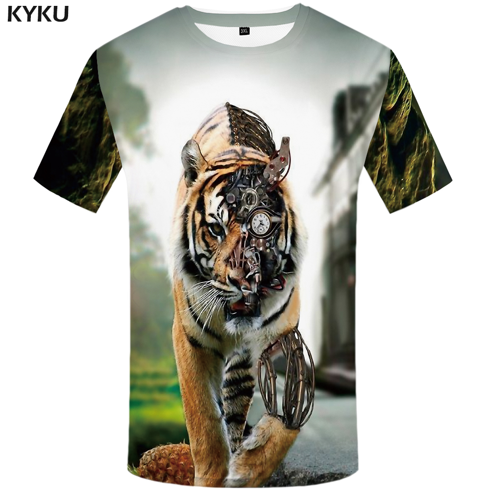 KYKU Tiger   T     shirt   Animal 3d   T  -  shirt   Punk Print   Shirts   Gothic Plus Size Mens Clothing Funny Tshirt Men Short Sleeve Big Slim