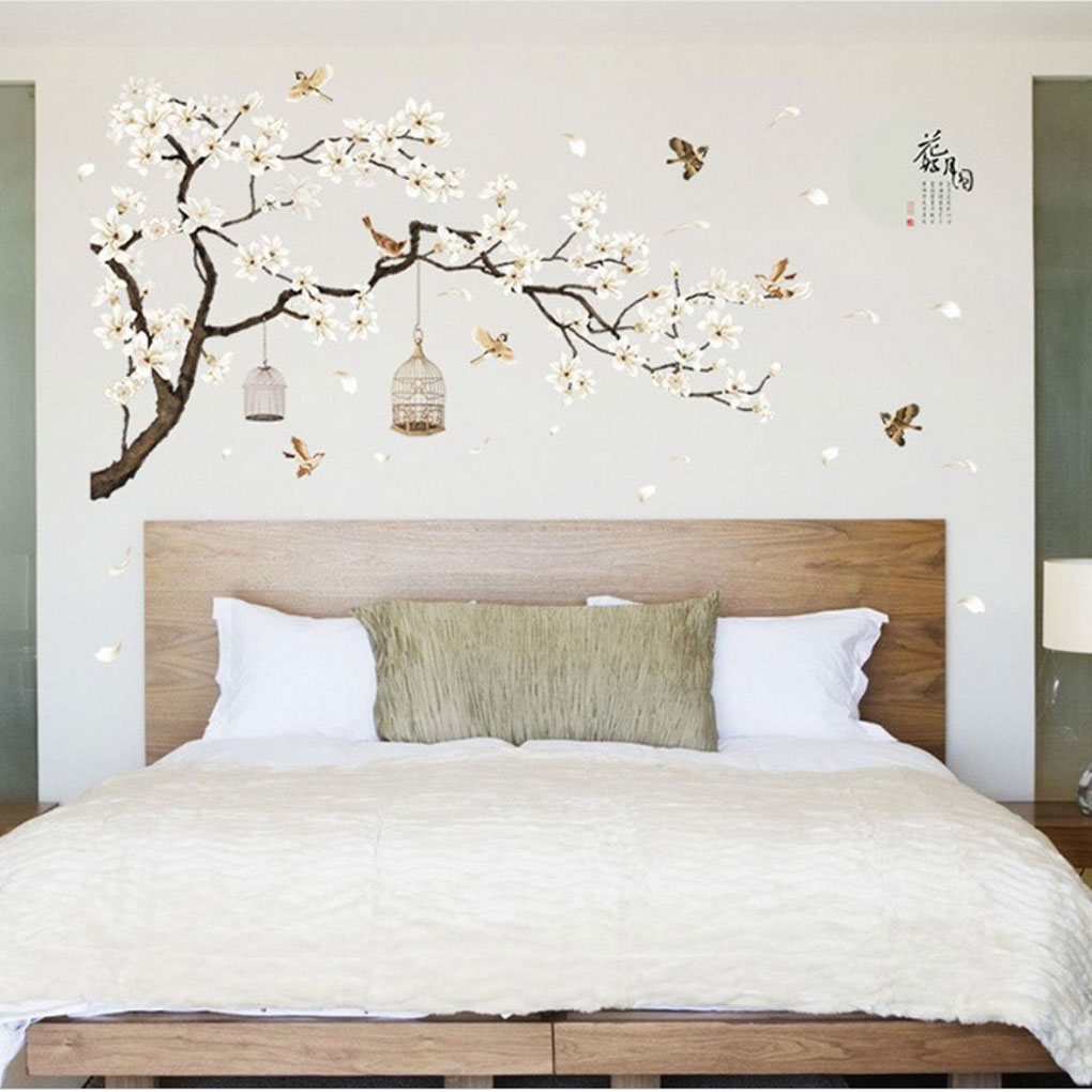 US $9.38 45% OFF|Flower Tree Bird Cage DIY Wall Stickers Wall Decals Poster  Bedroom Hall Mural Decoration Decor-in Wall Stickers from Home & Garden on  ...