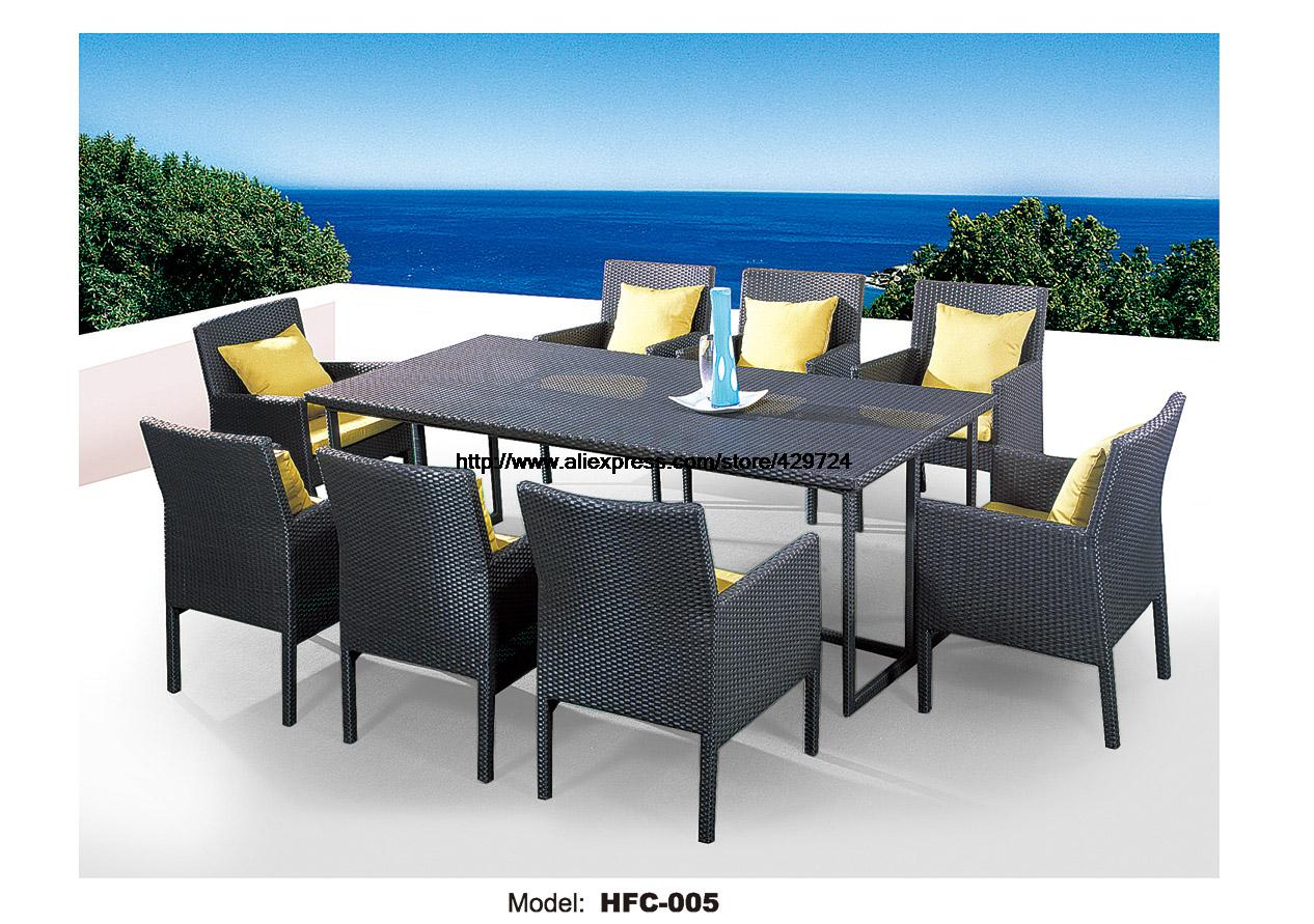 Large Size Outdoor Table Chairs Set 9 Piece Garden Balcony Meeting Desk Table Rattan Chairs Comination Wicker Chairs Table
