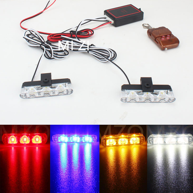 Blue/Red/Yellow/White 2*3 LED DRL Daytime Running Light Strobe warning Lights Flash Emergency Firemen External Wireless 4in1 daytime running light 12v 12w led car emergency strobe lights drl wireless remote control kit car accessories universal