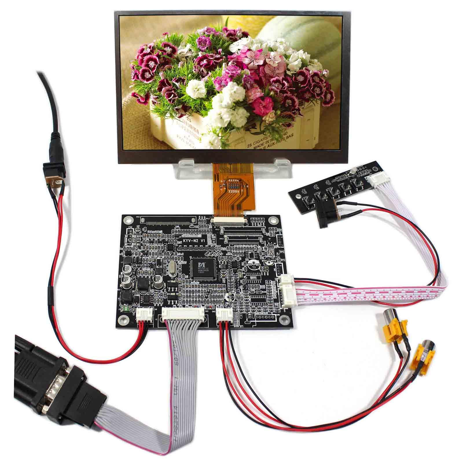 VGA+2AV Reversing LCD Controller Board With 7inch 1024x600 AT070TNA2 LCD Screen vga 2av reversing lcd controller board with 7inch 1024x600 at070tna2 lcd screen